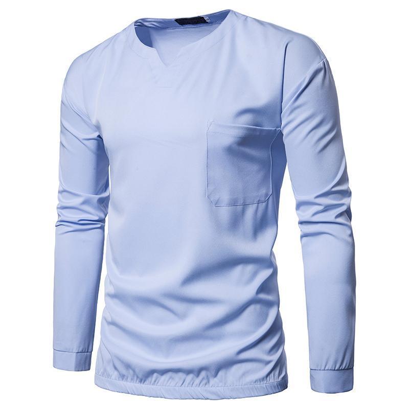 Мужские рубашки мужская мода высокого качества новые лучшие рубашки сплошной цвет круглый пуловеры шею длинным рукавом случайно