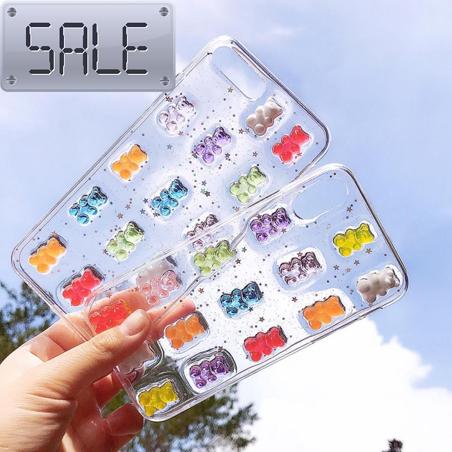 Haqu fofo 3D doces cores urso telefone case para iphone x xs max xr 8 7 6 6 s mais 11 12 pro max se 2020 glitter macio capa