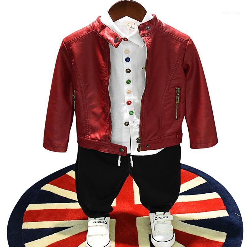 Spring Automne Baby Manteau Boys Pu Jacket Enfants Designer Enfants Children Outwear Towdler Vêtements Mode Rivet Solide Zipper 2 à 7 ans1
