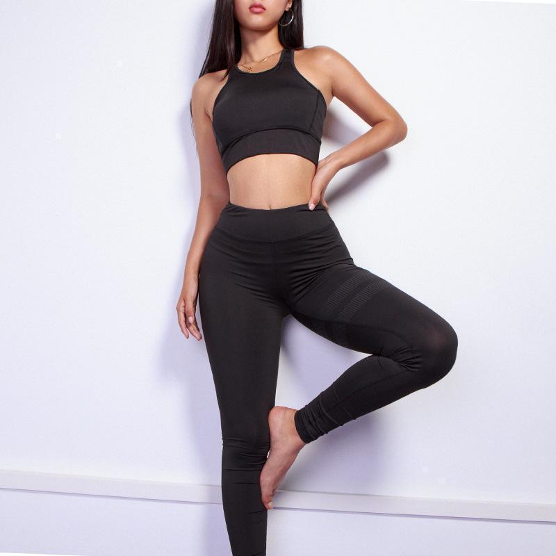 Femmes Yoga Ensemble Solide Sport Set Femmes Sportswear Sportswear Supports De Fitness Vêtements Sports Bra Gilet et Yoga Pants1