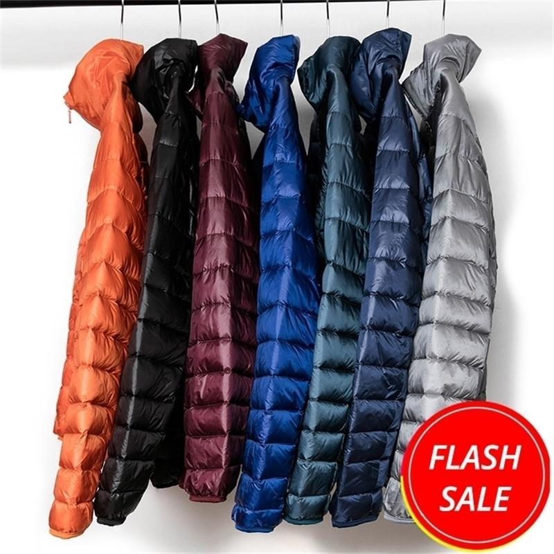 New Winter Fashion Brand Ultralight Duck Down Piumino Mens Packable Streetwear Streetwear Piuma Cappotto Impermeabile Uomini caldi Vestiti 201226