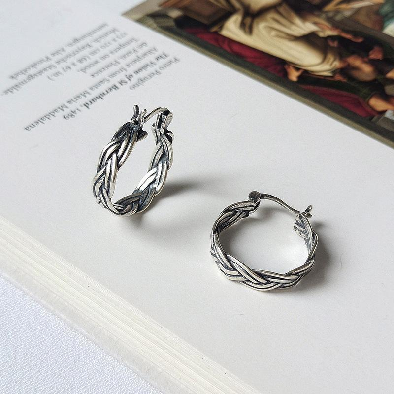 Pendientes del aro de la irregularidad de las flores simples 925 Pendiente de plata Mujeres Aros Plata Mujer Brincos joyería