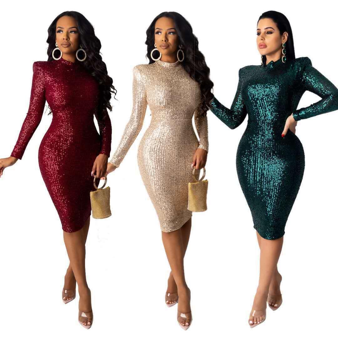 İlkbahar Sonbahar Kadınlar Altın Elbiseler Moda O-Boyun Uzun Kollu Pullu Bodycon Elbise Kadın Ince Esneklik Diz Boyu Kalem Elbise Q0111