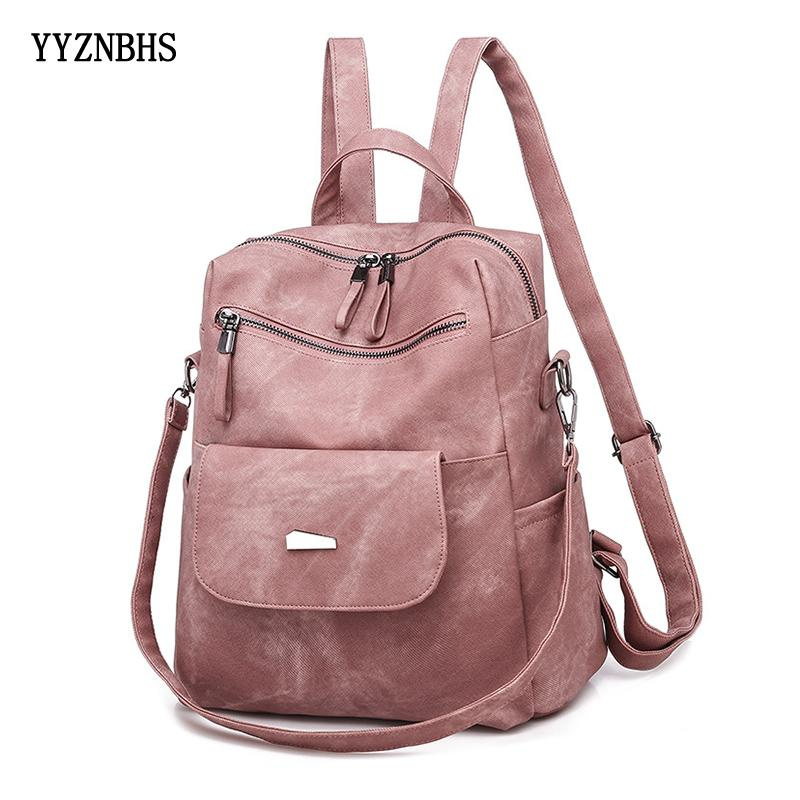 Couro Mochila Bolsa de Ombro Vintage Bagpack Viagem Mochilas para a escola Adolescentes Meninas Back Pack Mulheres Mochila Feminina Q1113