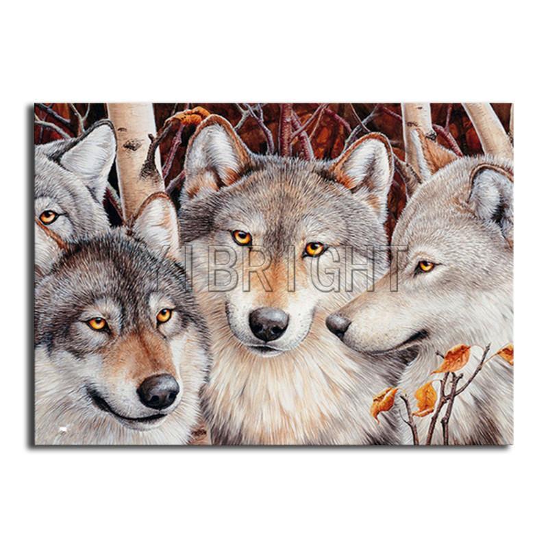 Полный площади Алмазный живописи DIY 3D волки Алмазный мозаики четыре Волчий Полный круглый бриллиант вышивка вышивки крестом Животного