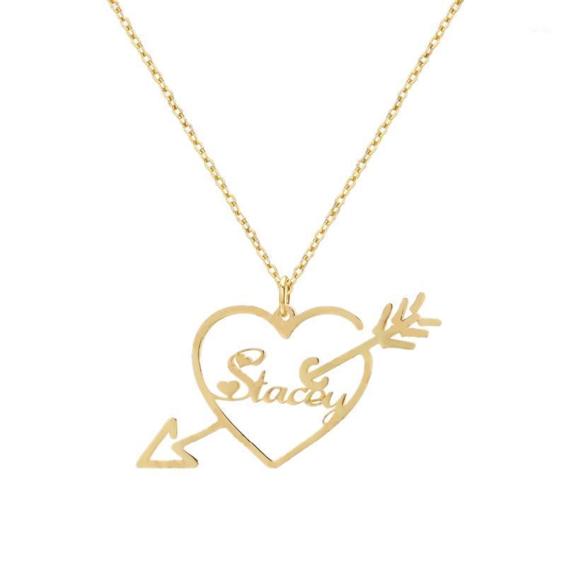 Очарование сердца кулон ожерелье для женщин Золотая стрелка пользовательских ювелирных изделий Ожерелье Персонализация свадьба Аксессуары из нержавеющей стали1