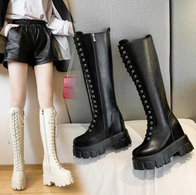 Chunky Plate-forme en cuir PU Cuissardes Femmes Retro Punk Taille longues bottes Femme augmentation lacent bottillons