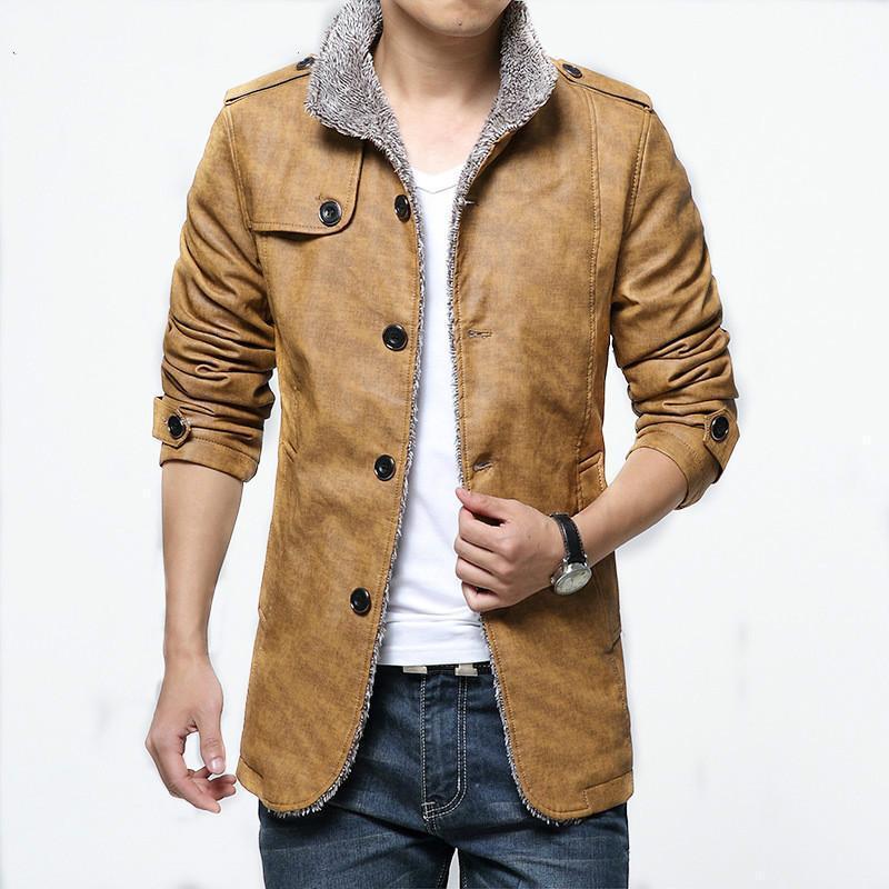 Мужская меховая искусственная куртка 2021 осенью и зимой плюс бархатное теплое пальто повседневный бренд кардиган стройная искусственная кожа L-4XL