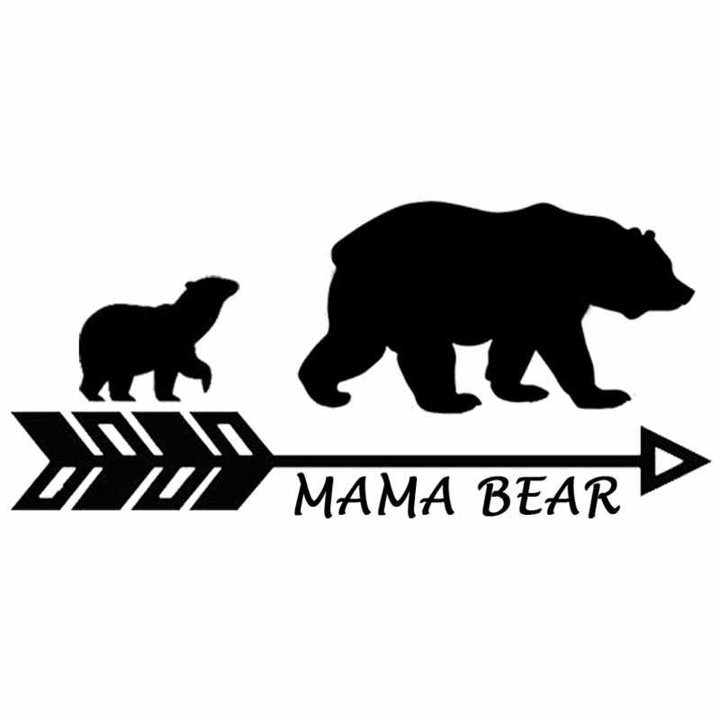 17.8cm * 8.2cm Mama Bear Vinyl Personnalité Vocateur de moto Autocollant de voiture Mère Bear et Baby Bear Decal Black Argent C10-01110