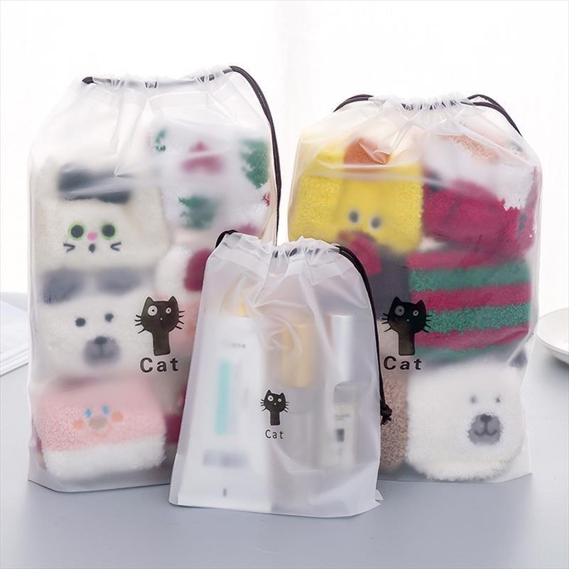 Kit Bag cosmetici trasparenti Cat Animal Viaggi trucco Caso Zipper compongono borsa dell'organizzatore di immagazzinaggio del sacchetto di toilette delle donne Wash
