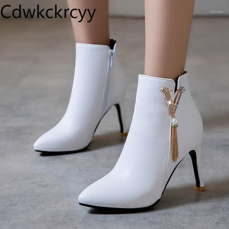 Inverno La nuova moda appuntita con tacco bene 8 cm stivali bianco strass plus cashmere mantieni stivali da donna con tacco alto caldo 34-481