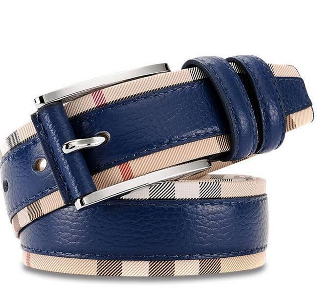 Nuova cintura in vera pelle di lusso per uomini e donne Fashion Pin fibbia a plaid cinghia di alta qualità cinture di progettazione di cowhide di alta qualità