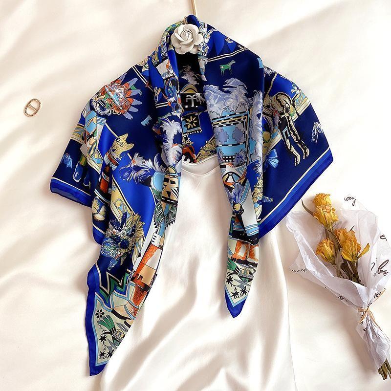 Bufandas koi saltando animal reino seda seda 90 gran pañuelo cuadrado mujer verano pantalón de protección solar