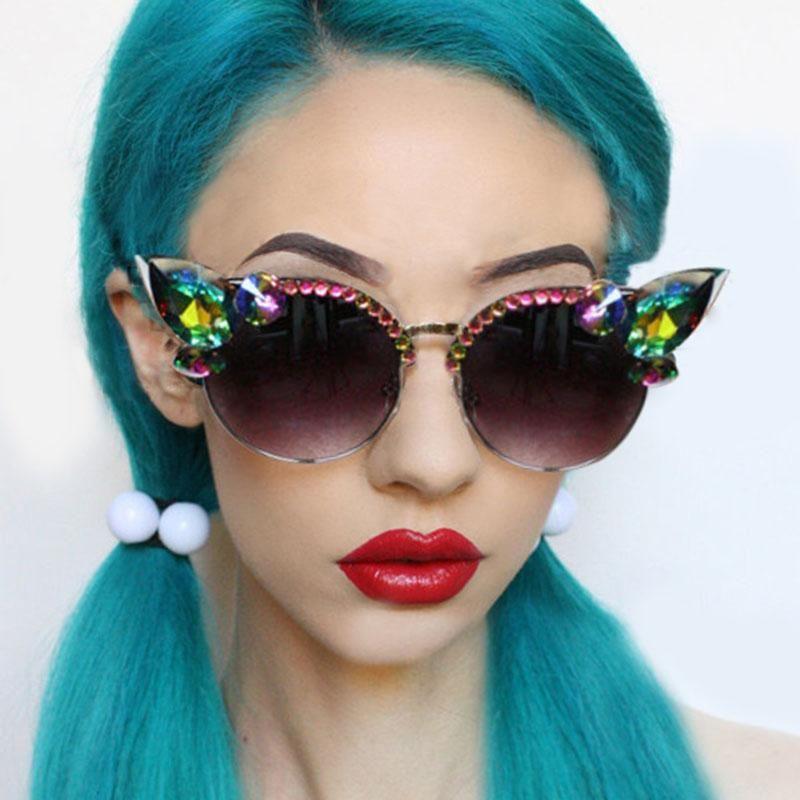 Vintage diamante óculos de sol Mulheres do olho de gato óculos de sol rosa Crystal Blue Punk Sun Glasses Homens Shades UV400 okulary