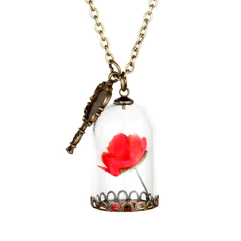 Collier enchanté Rose dans Terrarium Pendentif Plaqué Saint Valentin Jour de fée Tale Victorien Bijoux