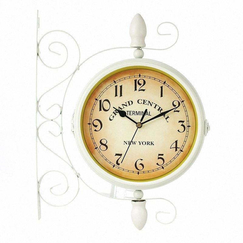 1Pcs New European Vintage Clock stile innovativo alla moda Double Sided Orologio da parete Home Bar Decoration tVSW #