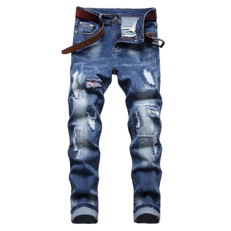 Erkek kot delik yırtık patchwork mavi denim kot ince düz pantolon streç pantolon rahat moda stil