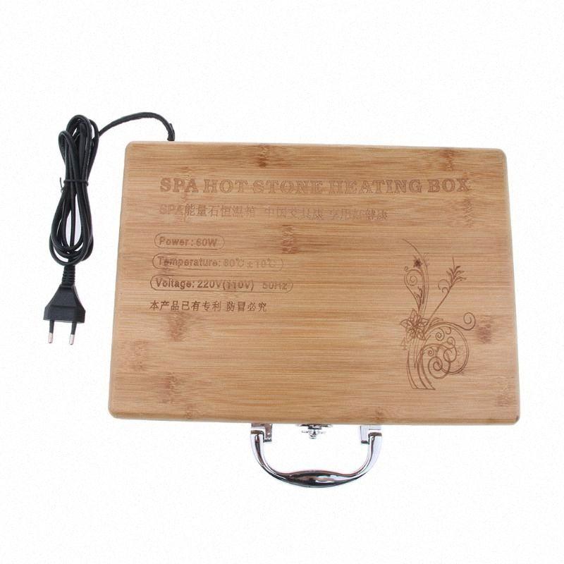 Caja de la caja 1pcs Spa Masaje con piedras calientes Masaje con piedras Roca Calefacción Calentador Calentador de la caja enchufe de la UE XEbg #
