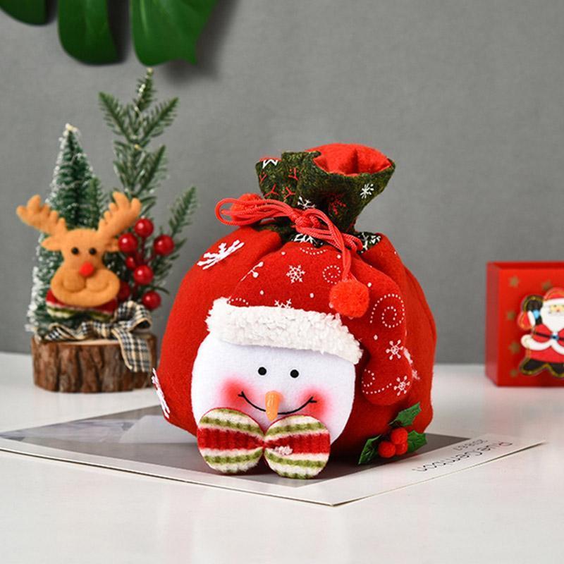 Decoraciones de Navidad Santa Claus Muñeco de nieve Oso Deer Bolsa Lindo Furry Tejido Regalo Media Creativo
