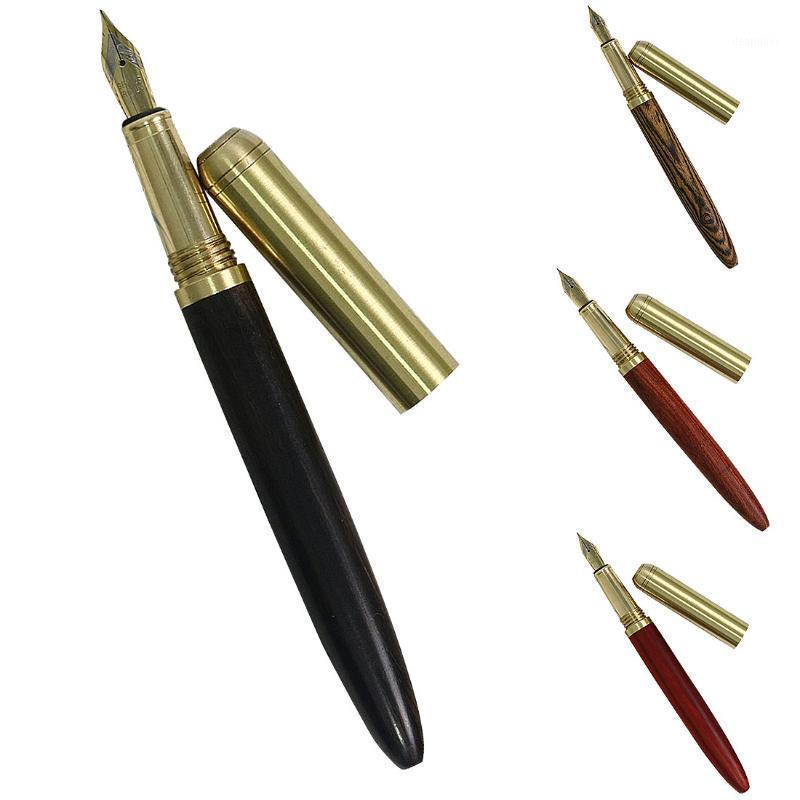 Fangnymph Alta Qualidade 0.7mm Rosewood e Bronze Fountain Fountain Fountain Pen para Business Student Stationery1