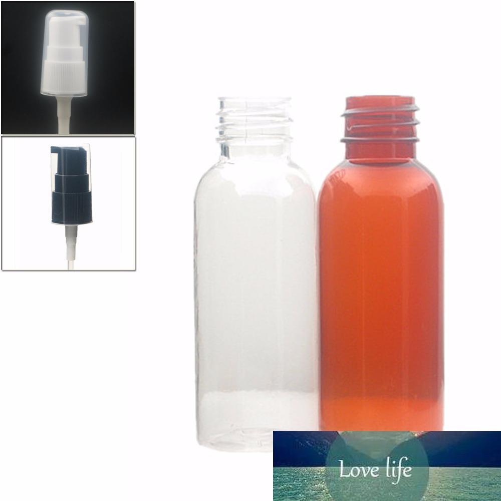 30 ml de color ámbar claro botella de PET vacío / plástico con bomba del tratamiento de negro / blanco X 10