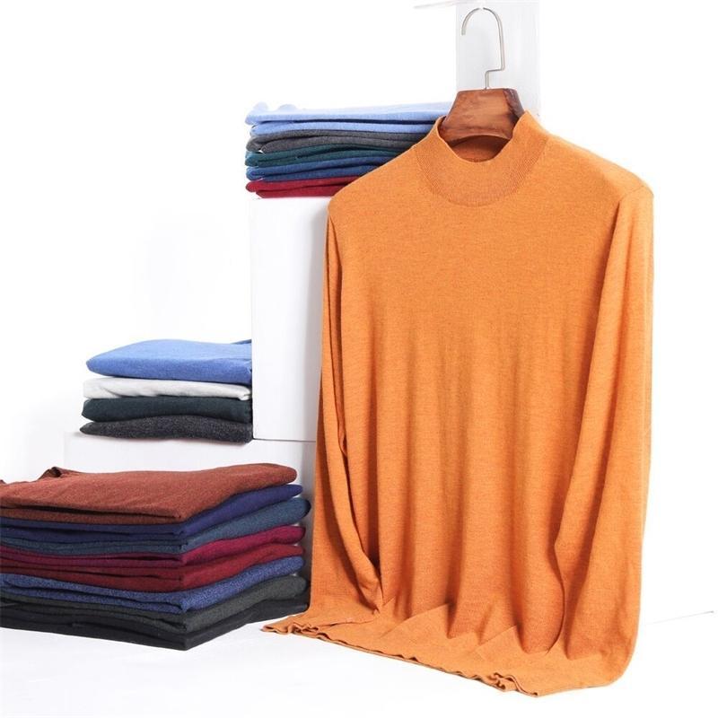 12 цветов мужская толстая водолазка свитер осенью и зима новая мода повседневная отворота теплый пуловер мужской бренд одежда 201125