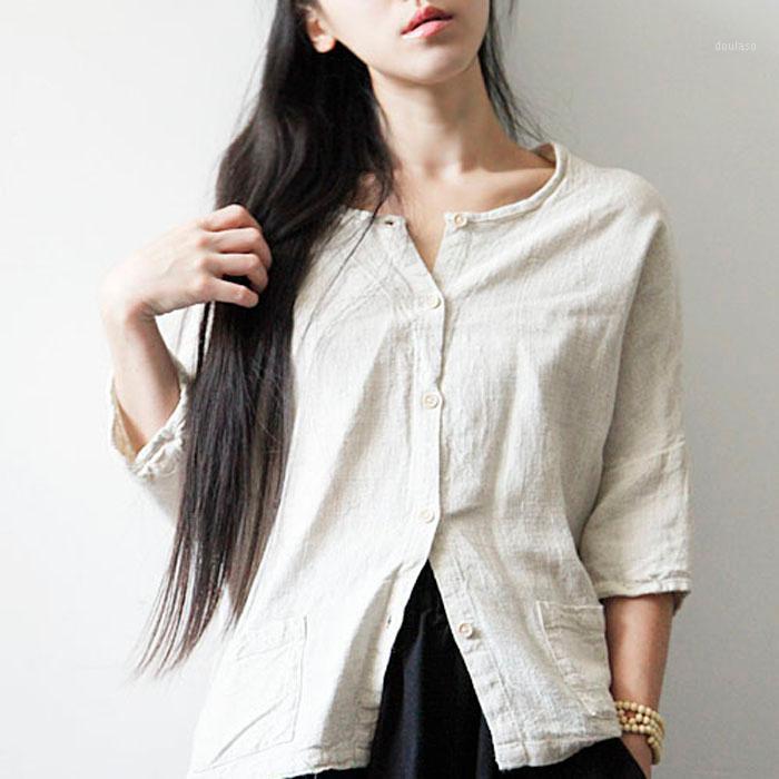 2020 Nova Moda Casual Mulheres Roupas de Algodão das Mulheres e Linho Camisa de Manga de Cinco pontos LONGO E VERSÁTILE1