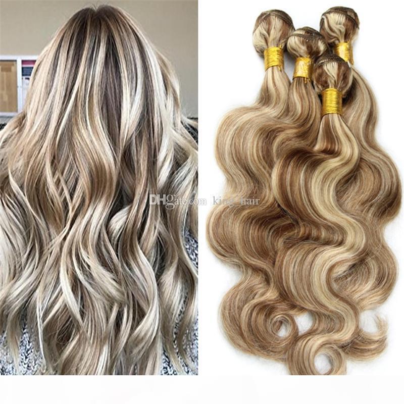 Пианино цвет кузова волна человеческих волос сочетание с кружевным закрытием коричневые и блондинка волос 3 пакета 10-30 дюймов