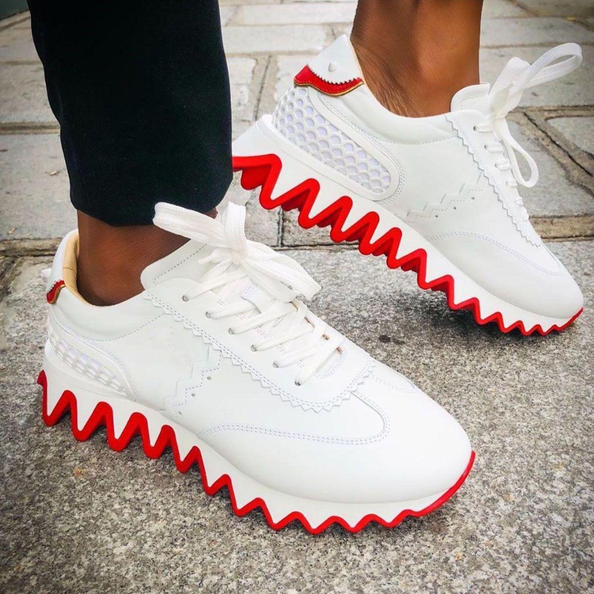 21S Style amusant Chaussures pour hommes Sneakers de fond rouge Louche-couches Donna Plat Soles dentelée rouge, Super cadeau Semelles rouges pour hommes Chaussures pour hommes
