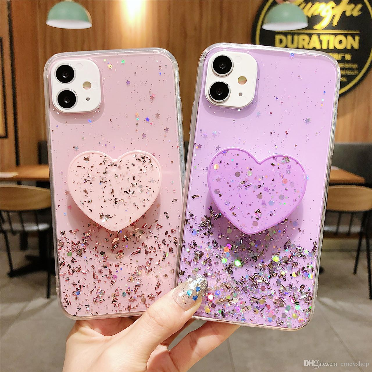 Bling Glitter Phone Case para iPhone 12 Caso 11 Pro Max 6 6 6S 7 8 Plus X XR XS Max Star Lantejoul Ster Suporte Suporte Titular Coque