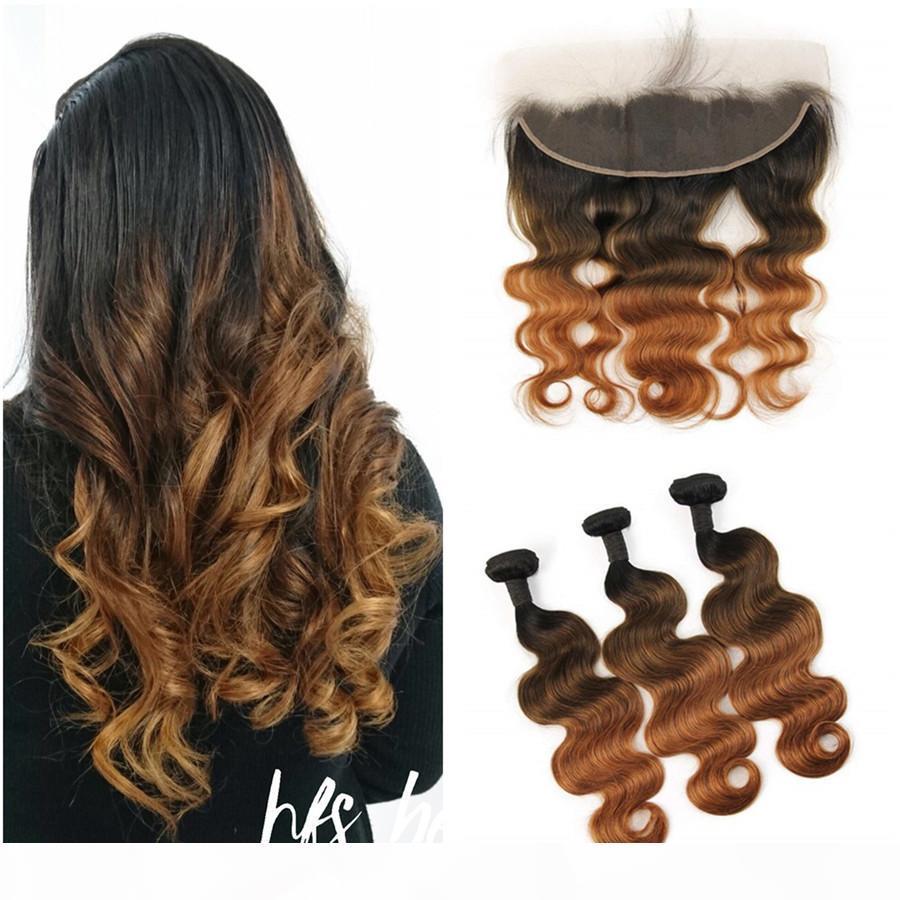 Dunkle Wurzeln Brasilianische Jungfrau Haarverlängerungen 3bundles mit Spitze Frontalverschluss 1b 4 30 Braune Auburn Haar Körperwelle Spitze Frontal mit Bündel