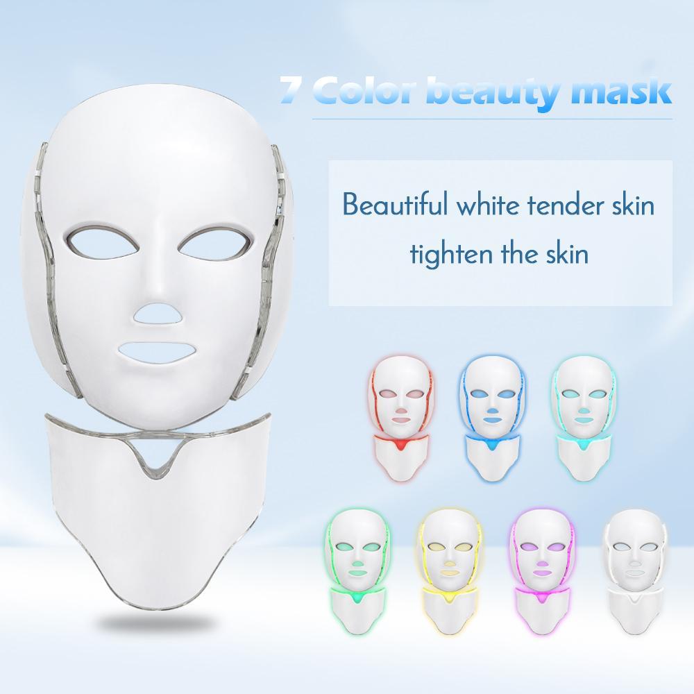 7 Color PDT LED Máquina de terapia de luz para el rejuvenecimiento de la piel Fotón amarillo Rojo Luz LED Máscara facial Equipo de belleza Uso del hogar