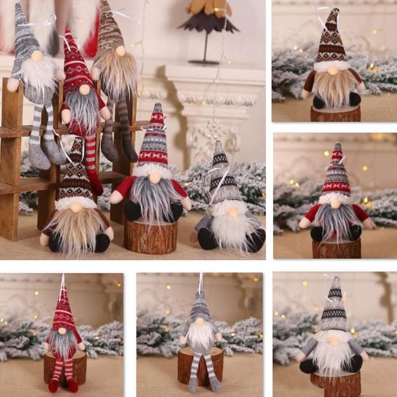 Ornamento de la Navidad de punto de felpa muñeca Gnome Pared árbol del ahorcado colgante vacaciones regalo de la decoración del árbol de las decoraciones