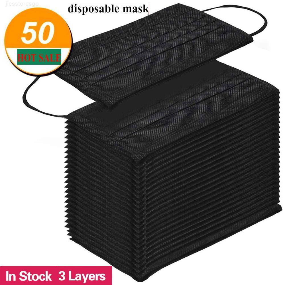 Frete grátis Preto descartável Máscara da proteção 3-Layer com máscaras Earloop Boca Rosto Sanitária externas