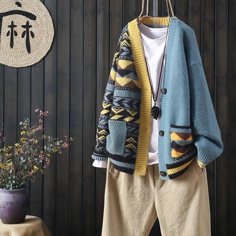 Otoño e invierno combinando bolsillos grandes manga larga abotonada botones de punto de punto de punto femenino suelto suéter literario literario 201202