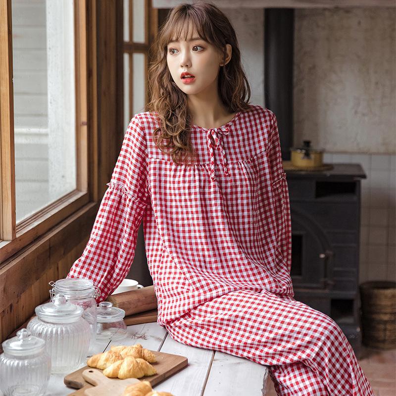 Весна и осень Новые женские пижамы плещеные брюки с длинным рукавом Установите круглые шеи хлопок пижама