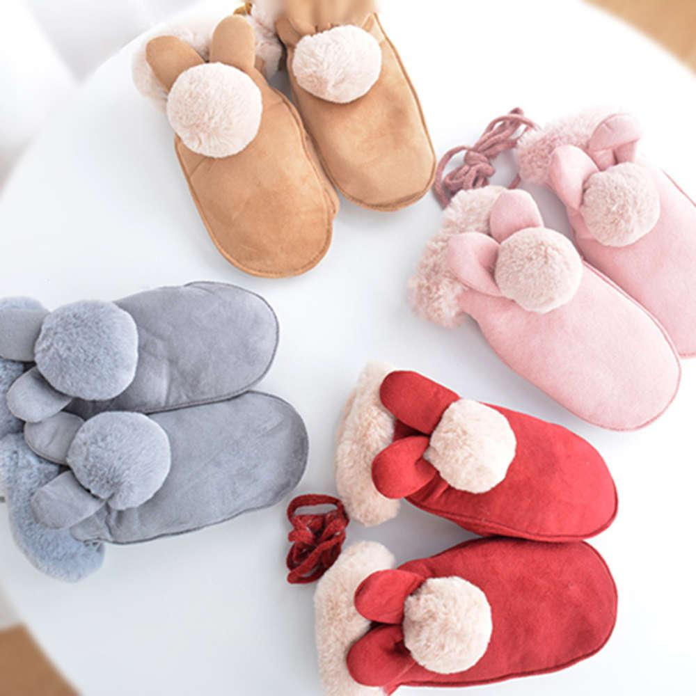 Children's Winter Snow warm and plush suede multi finger hanging neck rope Gloves wrap fingers