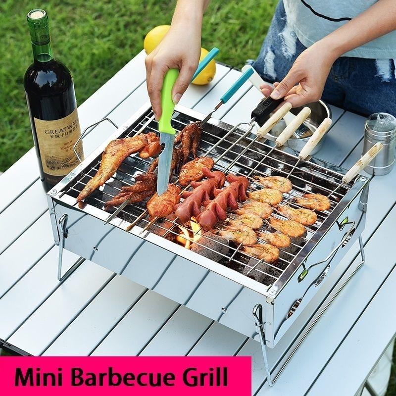 Portable Mini Carbecue Harmoal Grill из нержавеющей стали складной BBQ Pove Kebab Trailing стойка для 3 человек Открытый кемпинг для кемпинга Picnic T200506