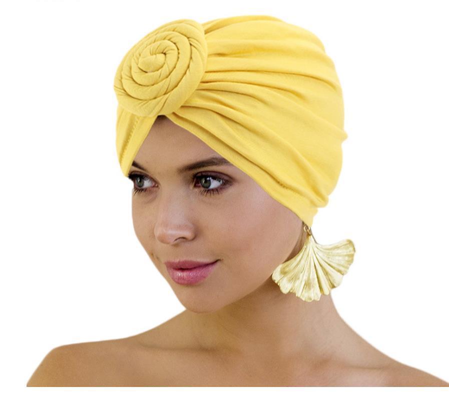 Women Cotton Turban African Pattern Knot Headwrap Beanie Pre-Tied Bonnet Chemo Cap Hair Loss Hat