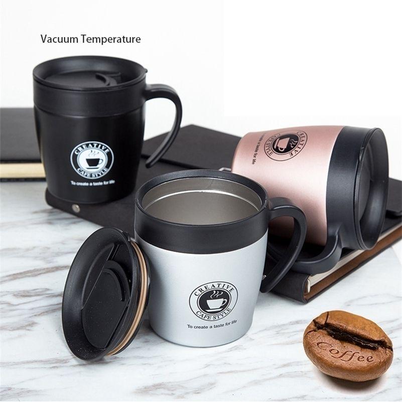 Griff Kaffeetasse Edelstahl Thermosassen Tassen Vakuumflasche Thermo Wasser Flasche Erwachsene Bussiness Männer Tee Portable ThermoCup 330ml 201204