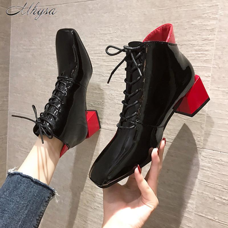 2020 Осенние Новые Сапоги Женские Цвет Соответствующие Толстые Ботинки Foot Flow Boots Передние Женщины Средний Высокий Каблук Один W311