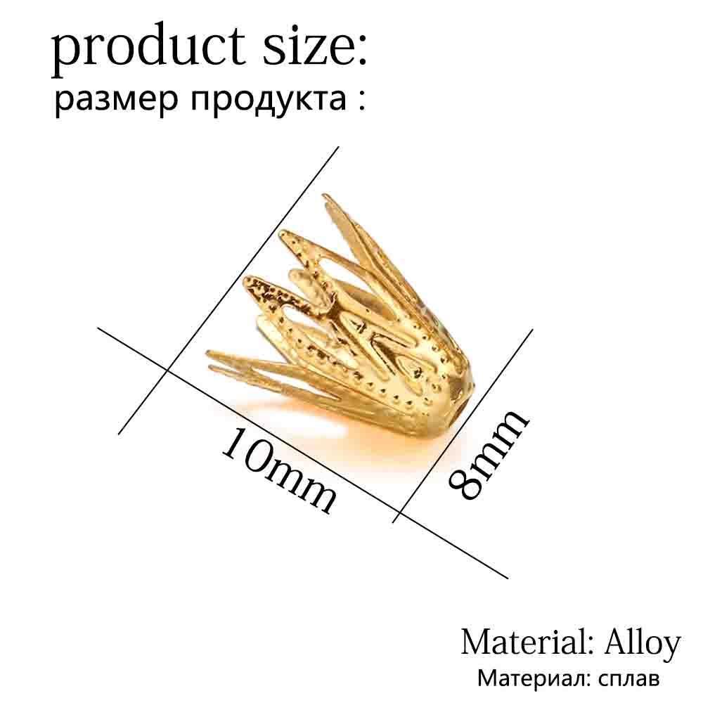 100pcs lot 810 mm d'or filigrane cône bouchon fin de perle creuse fleur pour bricolage bracelet boucles d'oreilles bijoux Fournitures h jllfvz