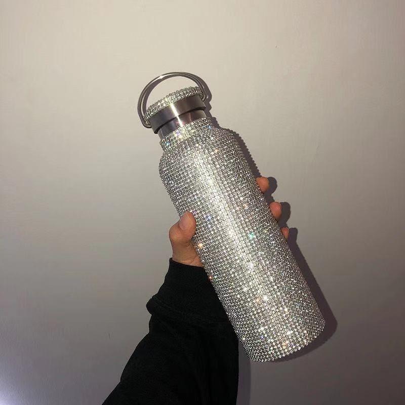 600 ml Ins Su Şişeleri Flaş Elmas Kupalar Lüks Yalıtım Fincan Paslanmaz Çelik Tam Rhinestone Bardak Taşınabilir Su Kupa Doğum Günü Kızlar