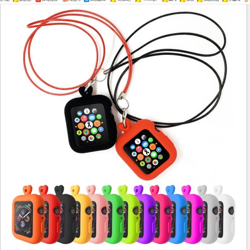Siliconen Case Cover met touwgesp voor Apple Watch Series 6 SE 5 4 3 2 1 100 stks / partij