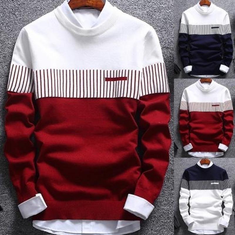 Мода вязаные цвета, соответствующие O-образным вырезам с длинными рукавами 2021 зима высокого качества мужской густой свитер