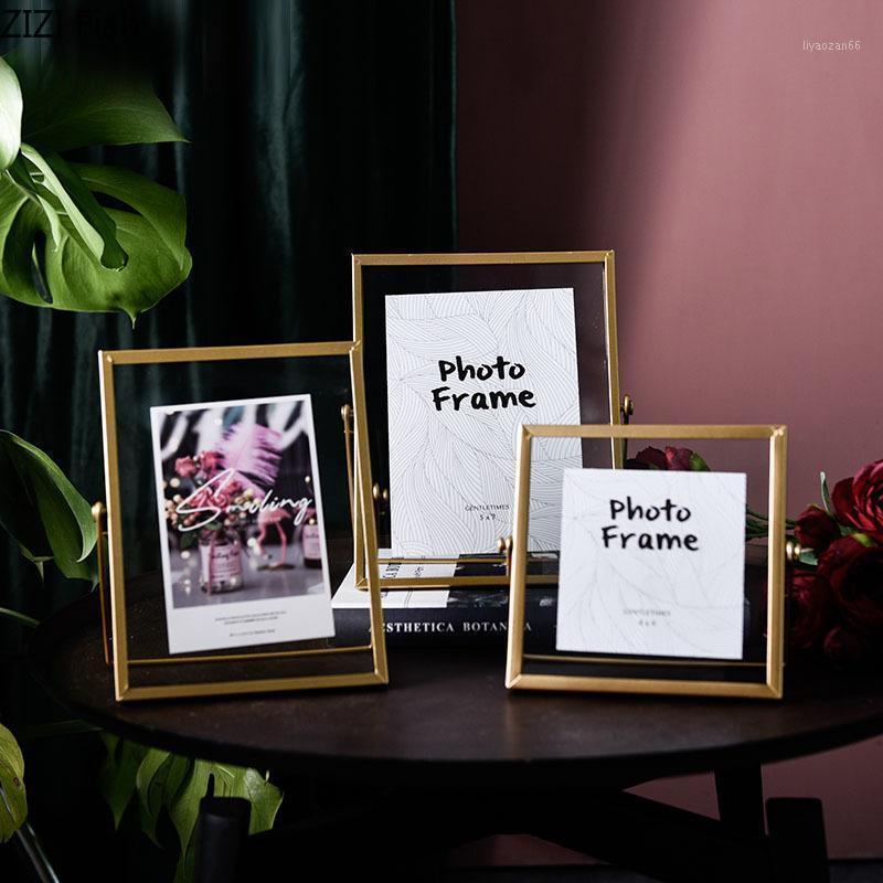4/6/7 zoll goldene metall familien fotorahmen ornamente quadrat glas bildrahmen nachtstandttop dekor nordic home decoration1