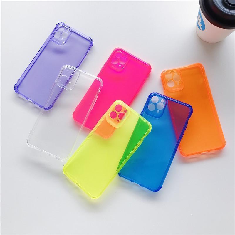 Ins Cassa del telefono trasparente antiurto fluorescente per iPhone 11 Pro Max XR XS Max 8 7 Plus Silicone di tendenza