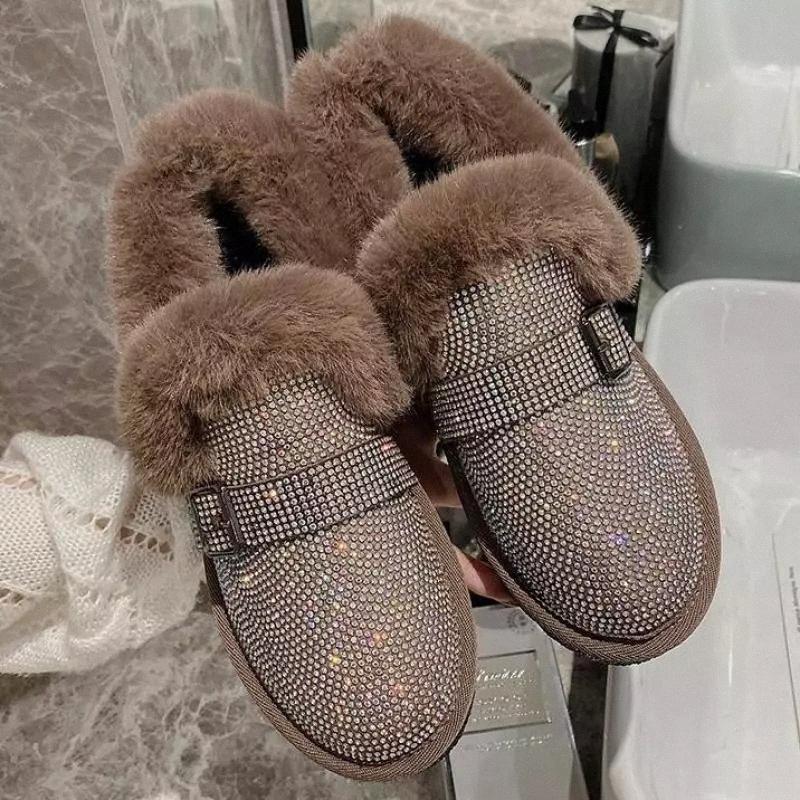 2020 Neue Herbst Winter Mode Lässig Massive Schnalle Knöchel Baumwolle Schuhe Frauen Pailletten Tuch Runde Zehe Slip-on Zapatos Mujer # HY7X