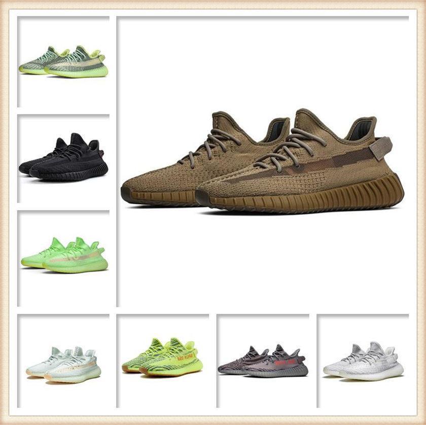 Erkek Bayan Spor Ayakkabı 2021 Kanye West Ash-Mavi Ayakkabı Ünlü En Iyi Marka Işık Yansıtıcı Rahat Spor Sneakers Futbol Ayakkabı Boyutu 36-48