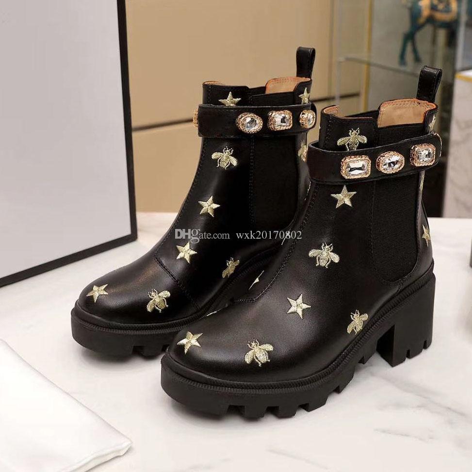 Martin botları% 100 sığır derisi kadın ayakkabı Arı Yüksek topuklar Deri Yüksek botları topuklu Moda Diamonds Bayanlar kısa botlar Büyük boy 35-42